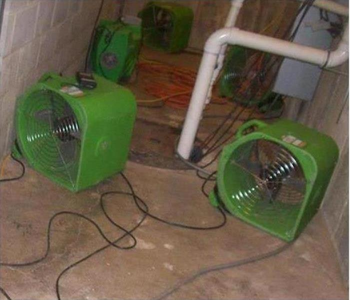 green air movers and dry concrete flooring