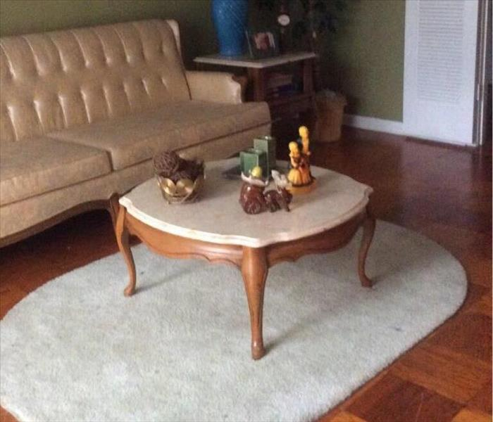 clean sofa with coffee table on rug, candles, knick knacks on table