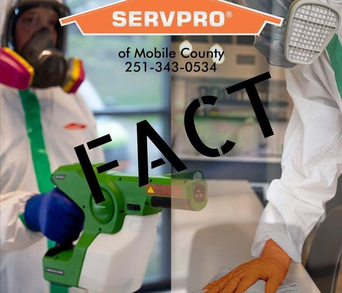 picture split in half, left side is man with fogger in PPE, right side is man in PPE wiping down counter with SERVPRO logo