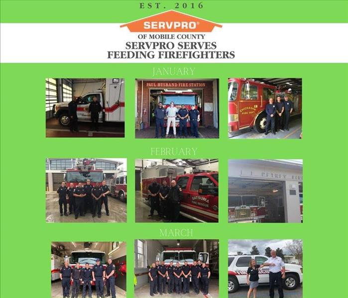 green background with 9 photos of fire station crews