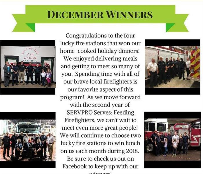 flier that says December Winners in green banner at top with 3 pictures of firefighters and fire trucks