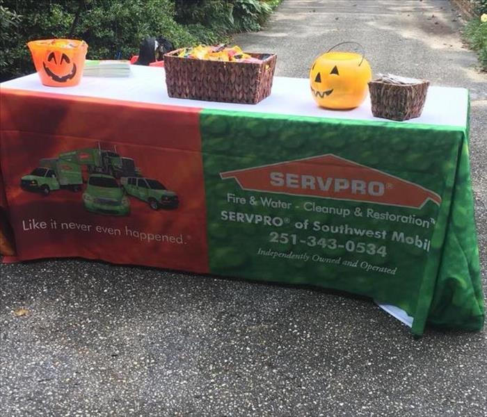 table with SERVPRO fire and water tablecloth