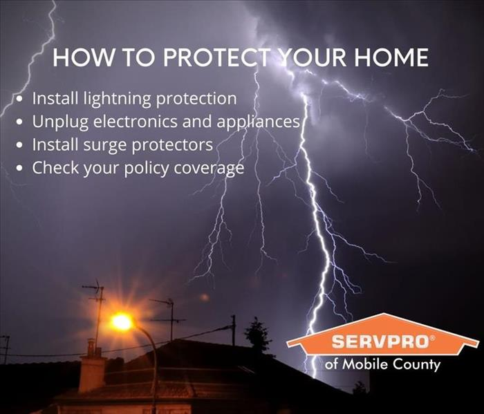 Lightning bold in dark sky with SERVPRO logo and copy
