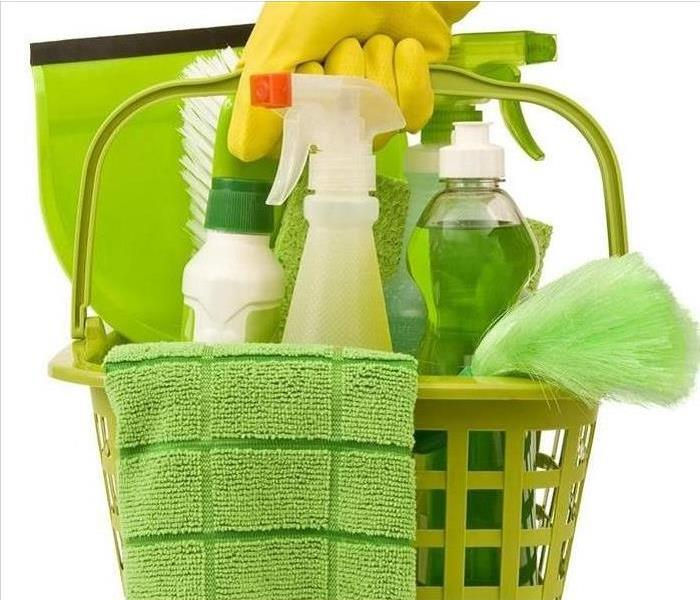 Basket of green cleaning items